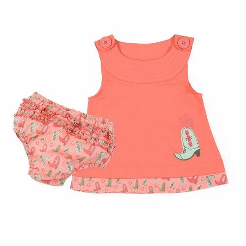 PQ5165K Wrangler Infant//Toddler Girls Western Romper Bloomer Set Watermelon NEW