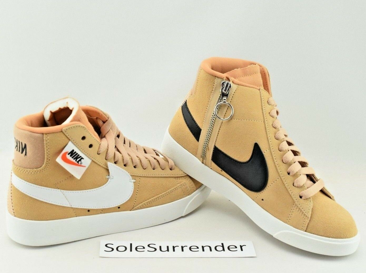 Nike Blazer Mid Rebel -CHOOSE SIZE - BQ4022-200 XX Off White Beige Tan Zip Black
