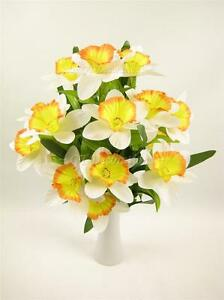 44cm artificial silk flowers white yellow daffodil bush table image is loading 44cm artificial silk flowers white yellow daffodil bush mightylinksfo
