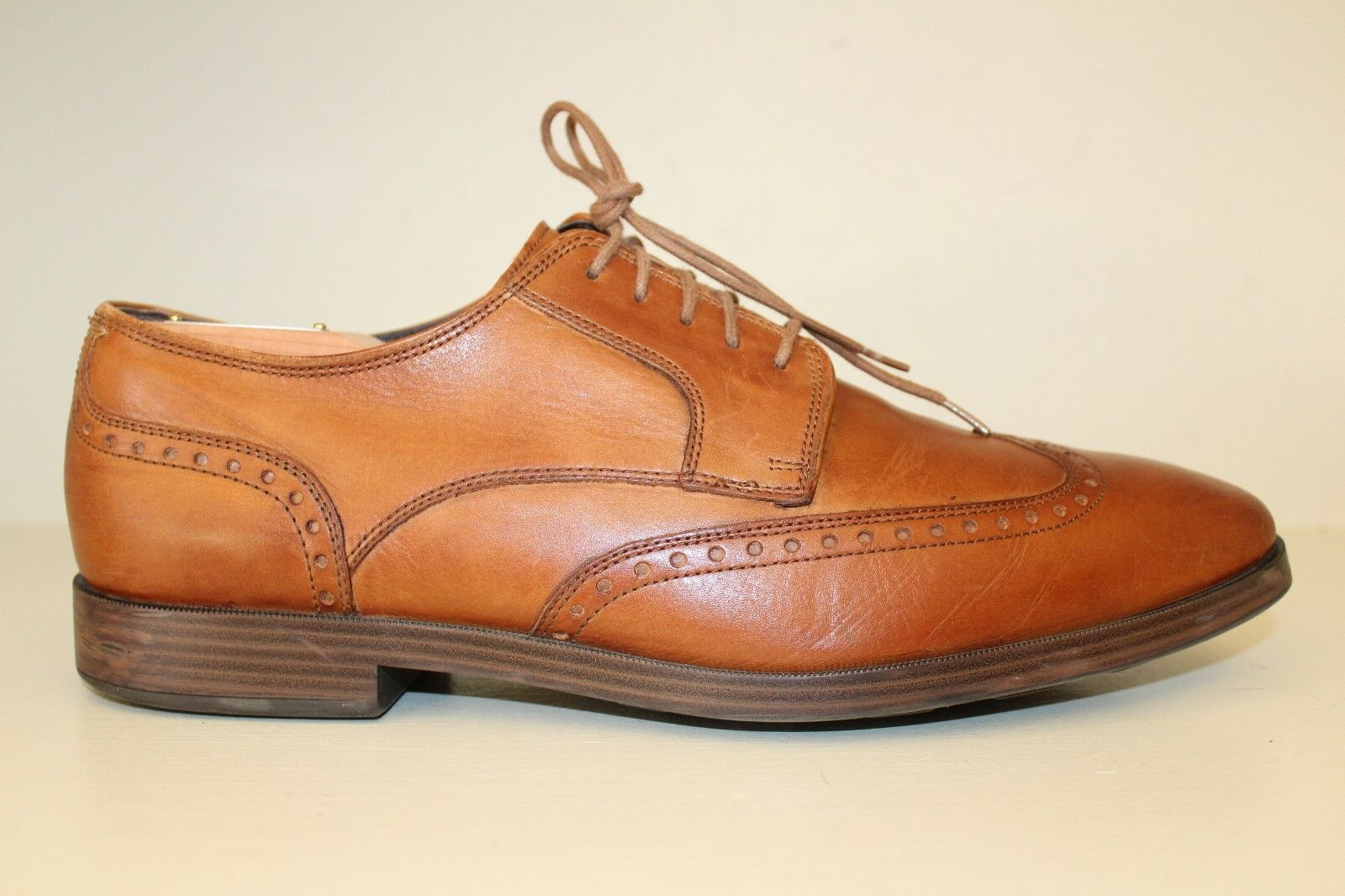 Cole Haan Uomo Grand OS Oxford Shoes Sz 11 M Brown Pelle Wingtip Lace Up Dress