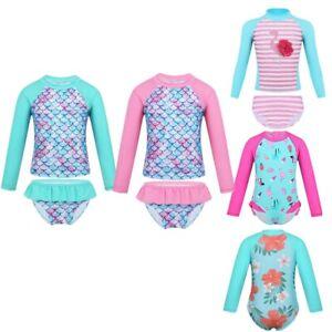 Kids-Baby-Girls-UV-Sun-Protection-Rash-Guard-Swimwear-Long-Sleeve-Swimsuit-0-8Y