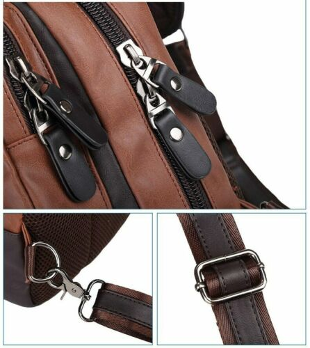 Men Vintage PU Leather Chest Backpack Casual Cross Body Messenger Shoulder Bags