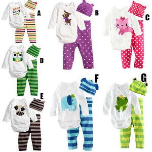 100-Algodon-3PZAS-Infantil-Bebe-Nina-Nino-Body-Pantalones-Gorro-Trajes-Juegos