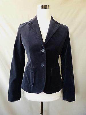Gap Womens Blazer Blue Velvet Boyfriend Two Button Long Sleeve Jacket Size 0