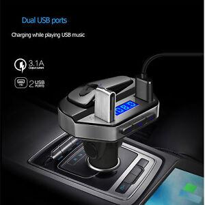 Bluetooth-Voiture-Transmetteur-FM-Kit-MP3-Sans-fil-USB-Chargeur-Mains-Libre-V6