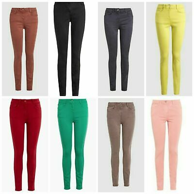 womens girls M/&S red mid rise fly zip full length Super Skinny Jeans