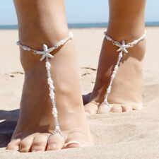 cf427ccb3d55db 1PC Barefoot Sandals Beach Wedding Foot Jewelry Beaded Pearl Starfish Anklet