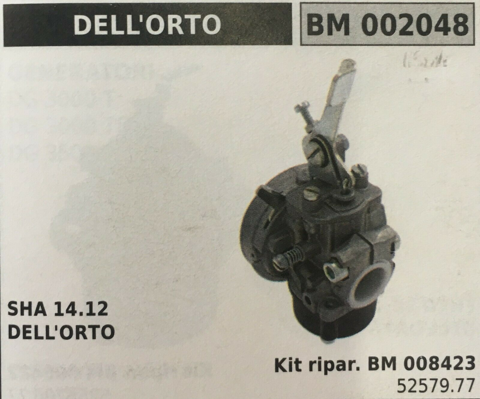 Cocheburador a Tanque Brumar Dell'Orto BM002048