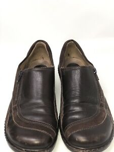 Clarks-Artisan-Brown-Leather-And-Suede-Slip-On-Loafers-Shoes-Women-039-s-Size-8-1-2M