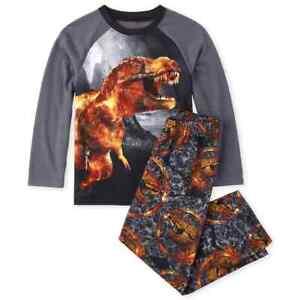 NWT-The-Childrens-Place-Dinosaur-Lava-T-Rex-Boys-Long-Sleeve-Pajamas-Set