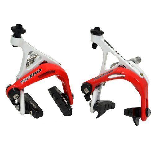 TEKTRO R741 Aluminum Road Bike Dual Pivot Caliper Brake Set , bianca x rosso