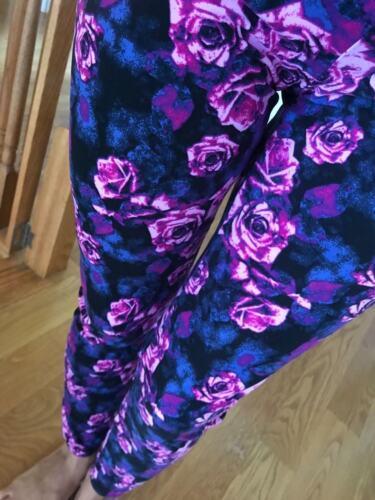 PLUS CHANCES Purple Black ROSES Leggings FLORAL Buttery SOFT 2-10 Curvy 12-20