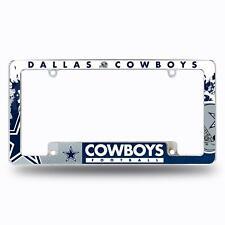 Dallas Cowboys Chrome License Plate Frame All Over Tag Cover Carauto Afc