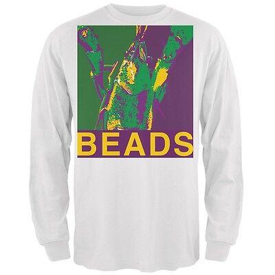 Mardi Gras Crawfish Booze White Adult Long Sleeve T-Shirt