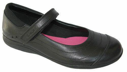 Size UK 1.5 2 Clarks Girls School Shoes Daisy Dena Beth Black leather