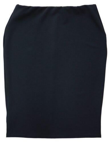 Womens New Black Stretch Knee Length Skirt Casual Work Elastic Waist New