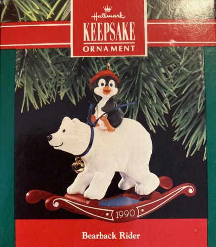 New Bareback Rider Polar Bear//Rocking Horse 1990 Hallmark Keepsake Ornament