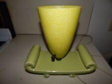 VINTAGE MID CENTURY MODERN GREEN GLAZE CERAMIC DESK LAMP GREEN FIBERGLASS SHADE