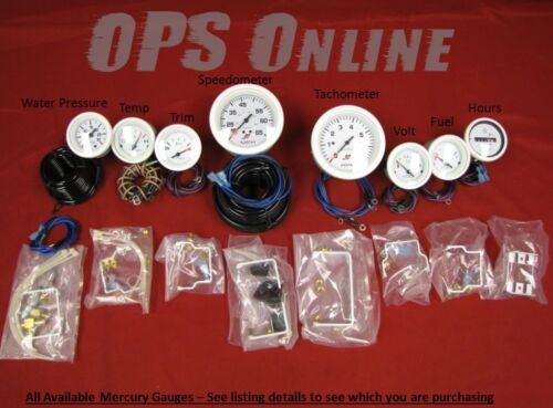 temp trim Speed,6K Tachometer Mercury Outboard Analog Gauge Set w//p white