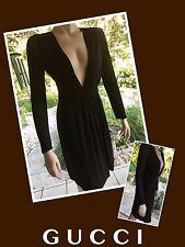 GUCCI Black Long Sleeve Deep V-neck DRESS 38 *