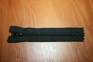 22 cms Lot de 5 Fermetures Eclair Non Séparable Noir