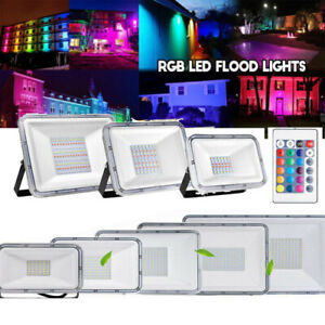10-100W-RGB-LED-Floodlight-Commercial-Outdoor-Garden-Landscape-Security-Lighting