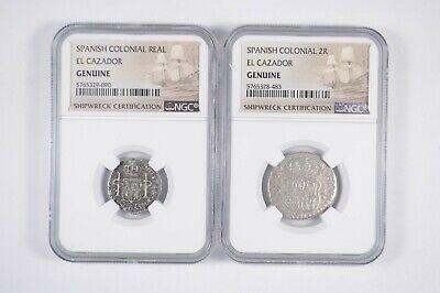 1//2 Real Silver Colonial Spain El Cazador Shipwreck //COA Certificate 1 Random