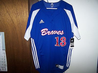 ADIDAS BRAVES TEAM 2 BUTTON DOWN BASEBALL JERSEY ADULT LARGE LOWER ...