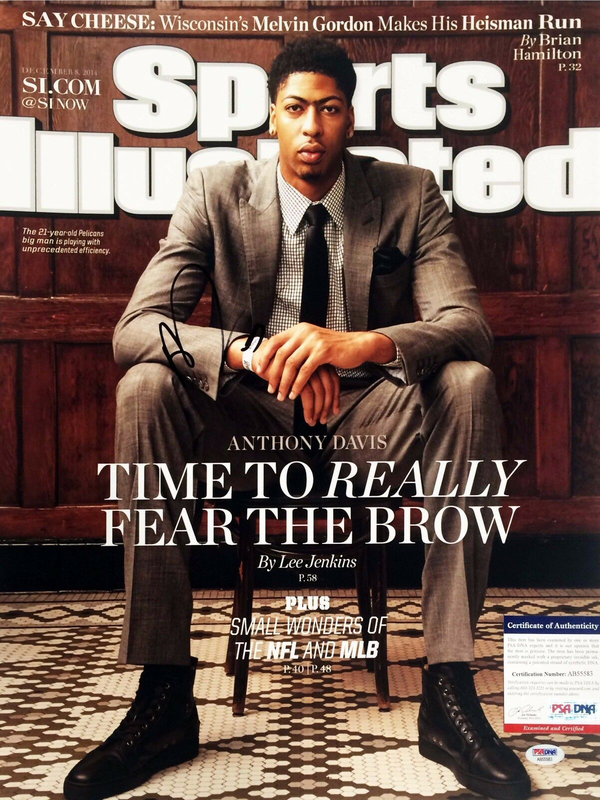 Pelicans Anthony Davis Signed Sports Illustrated 16x20 Photo PSA/DNA # AB55583