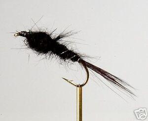 12 Black Flashback Nymph L//Shank  Fishing Flies Size 14