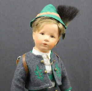 KATHE-KRUSE-BOY-DOLL-With-SCHOOL-BAG-with-GRAY-JUMP-SUIT-amp-GREEN-HAT