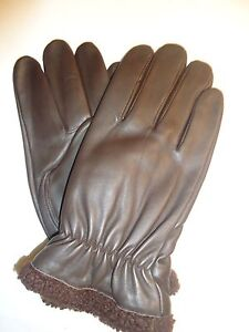 4fe1df198f13 Men s Thinsulate Faux Shearling Cuff Genuine Leather Gloves