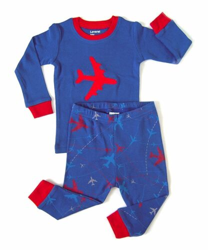 Size 6M-14Y Leveret Boys Royal Blue Airplane Pajama Set 100/% Cotton