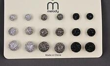 9 pair faux druzy ball stud post earrings pack silver grey black drusy round