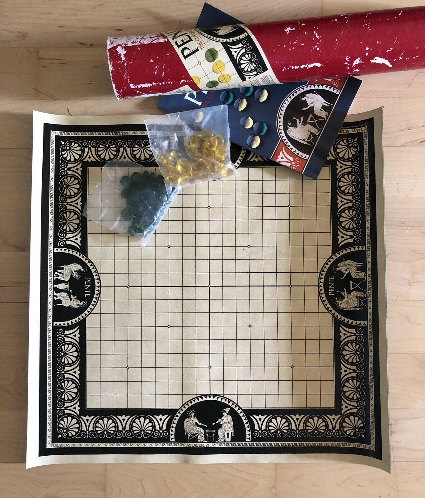 Vintage Pente Board Game ROT Tube Gelb & Grün Glass Stones Game of Skill