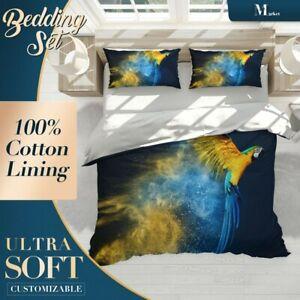 Golden Parrot Animals Birds Blue Duvet Cover Set with 2x Matching Pillowcases