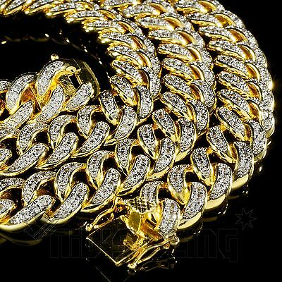18K Gold Iced Out CUBAN Miami Chain Link Rose Micropave Lab Diamond Men Necklace