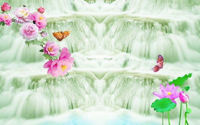 3D Pale Green Waterfall Floor WallPaper Murals Wall Print Decal 5D AJ WALLPAPER