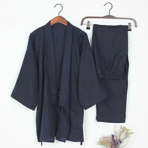 Japanese Kimono Pyjamas Set Mens Martial Kung Fu Kimono T Shirt Pajama Pants UK