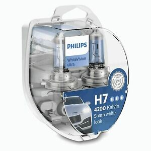 Philips WhiteVision Ultra Car Headlight Bulbs H7 (Twin Pack) White Vision