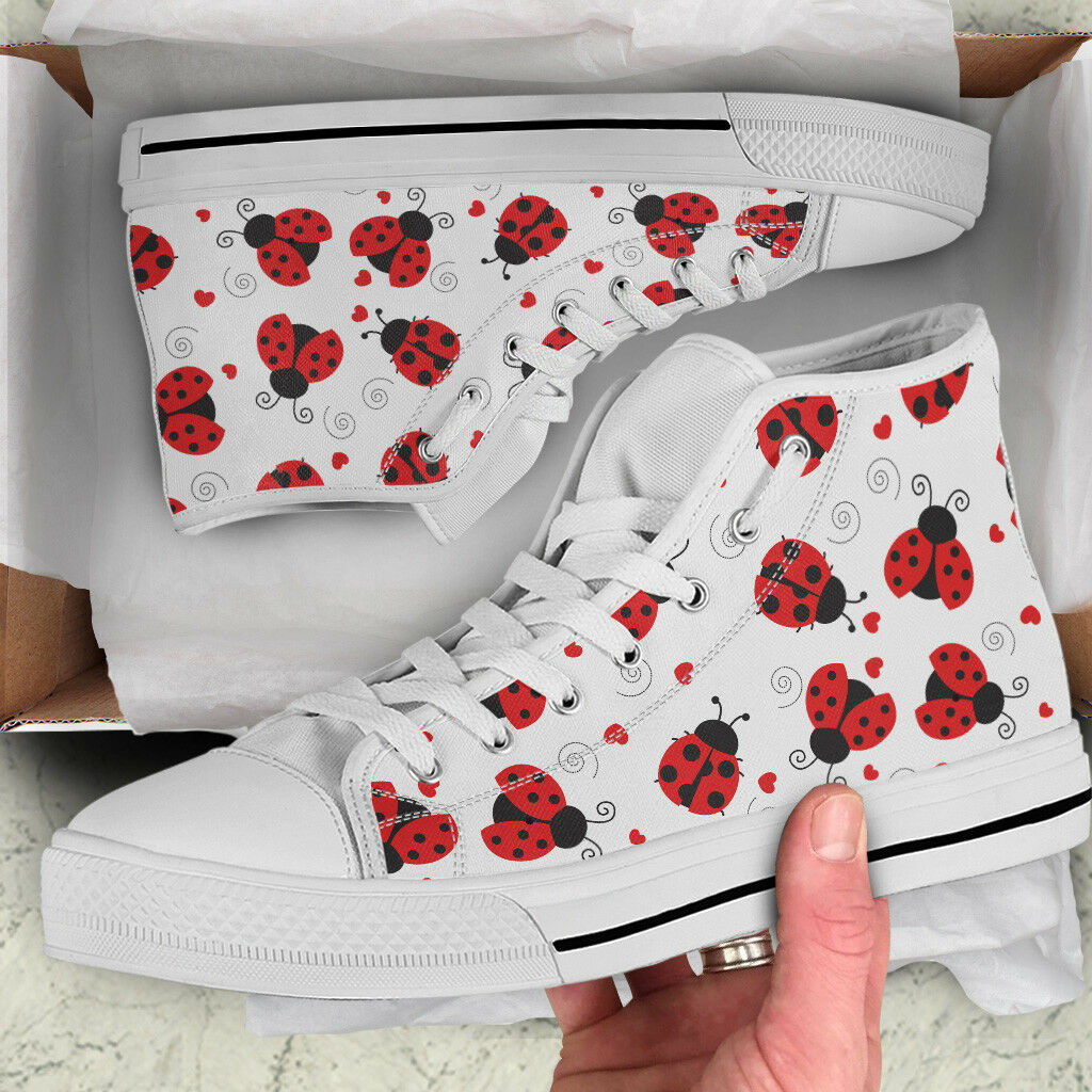 Cartoon Ladybug Ladybird Lover Femme High Top Chaussures - Custom Canvas Chaussures