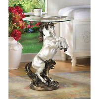 UNICORN  GLASS TOP SIDE END ACCENT TABLE DECOR~12260