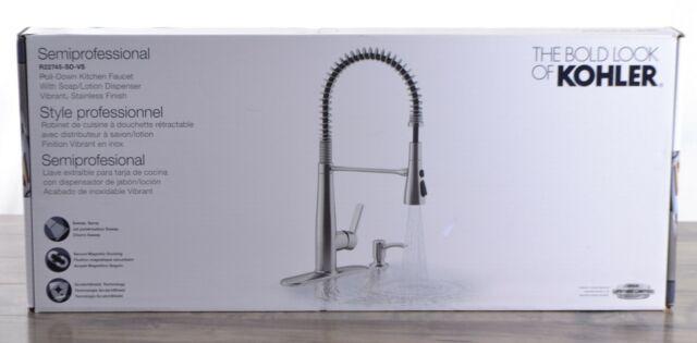 Kohler Semiprofessional Pull Down Stainless Steel Kitchen Faucet Soap Dispenser