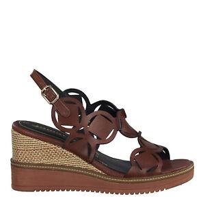 Details zu Tamaris 1 1 28312 24 557 Schuhe Damen Leder Touch it Keil Sandalette granata rot