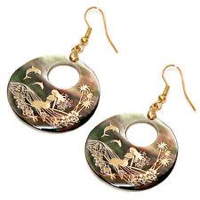 Mermaid Fashionable Earrings - Fish Hook - Black Lip Mother of Pearl