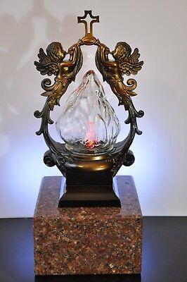 Grablaterne Bronze Grablampe Grableuchte Grablicht Kerze Licht Laterne Engel Led Ein Unbestimmt Neues Erscheinungsbild GewäHrleisten