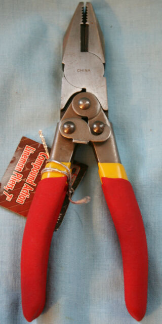 """7/"""" COMPOUND ACTION LINESMAN PLIERS CT Olympia Tools side cutting lineman RED"""