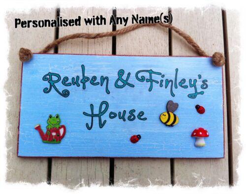 Outdoor Playhouse Firmare Bambino Placca in Legno Personalizzata Nome per Bambini-Blu