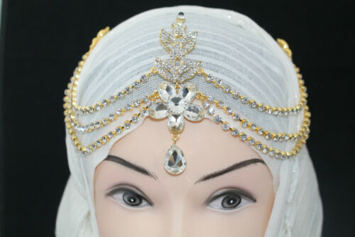 Ladies Bridal PromParty Diamante Chain Brooch Tiara Hijab  Band CostumeJewellery