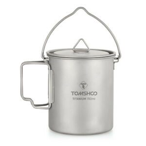 TOMSHOO-750ml-Titanium-Pot-Water-Cup-w-Lid-Outdoor-Camping-Cooking-Picnic-V2H2